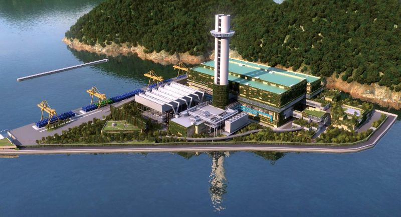 Artist's impression of the facility off the coast of Shek Kwu Chau and south of Lantau Island. It is expected to be completed by 2024.