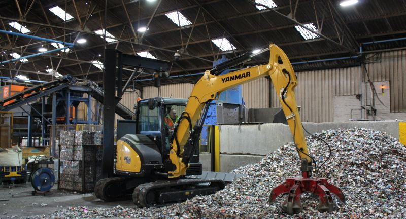 yanmar, alutrade, recycling, sv60, excavator, waste