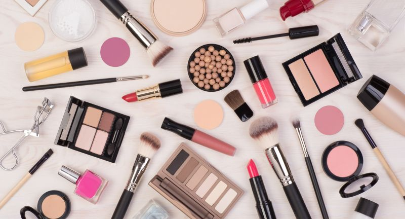 cosmetics, makeup, set, lipstick, blush, mascara, eyeshadow, beauty, brush, accessories, powder, cosmetic, nail polish, make-up, white, pink, color, glamour, fashion, palette, beautiful, red, skin care, products, eyelash curler, top view, concealer, foundation