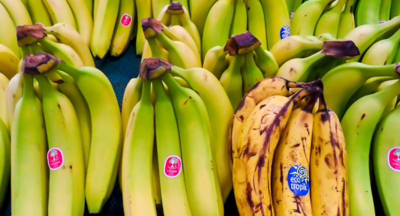 fresh, fruit, bananas, overripe, stickers, labels, food, produce, healthy, horizontal, yellow, green, fresh, fruit, bananas, overripe, stickers, labels, food, produce, healthy, horizontal, yellow, green