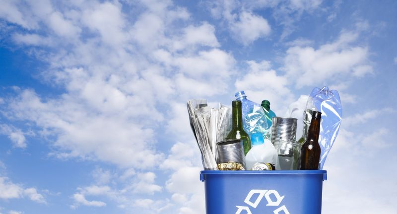 recycling, recycling bin, recycling symbol, sky, symbol, conservation, green issues, waste, blue sky, cloud, rubbish, collection, environment, environmental issues, newspaper, paper, bottle, bottles, aluminium, tin, plastic, consumer society, glass, outside, exterior, garbage, concepts, blue, packaging, throwaway