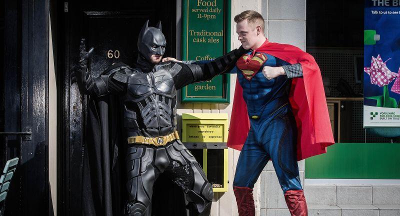 super hero, litter, batman, superman, smoking, fags, cigs, butts, tidy, recycle, ballot bins